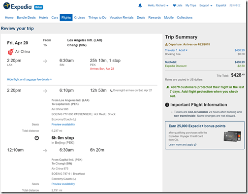 LAX-SIN $429 Air China Apr20-27