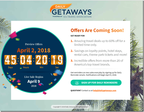 Daily Getaways 2018 preview