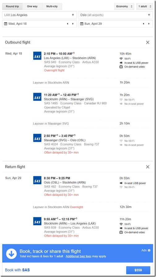 LAX-OSL $560 SK Apr18-29