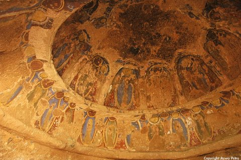 Said to be among world's oldest oil paintings, on cave ceilings of Buddha statue site