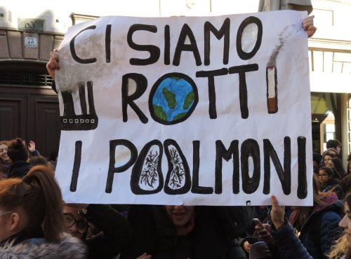 """Uno degli slogan della marcia per il clima del 15 marzo 2019: """"Ci siamo rotti i polmoni"""""""
