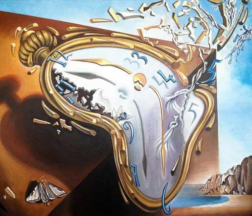S. Dalì, Orologio molle al momento della prima esplosione, 1954 (l'Europa unita si disintegra)