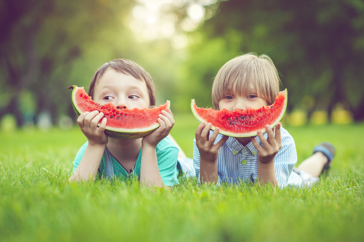 Happy little boys eating watermelon in a park