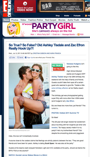 screen capture of E Online with photo of Zac Efron and Ashley Tisdale in swimsuits partying on beach