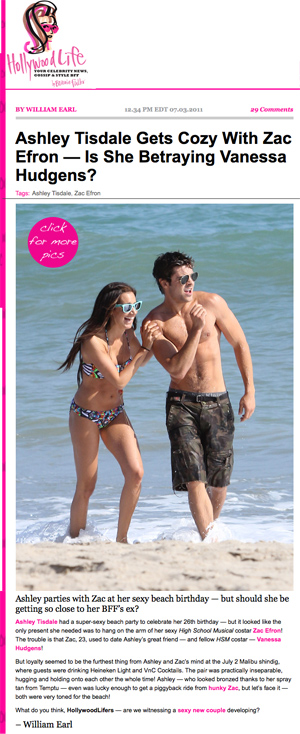 screen capture of Hollywood Life with photo of Zac Efron and Ashley Tisdale in swimsuits partying on beach