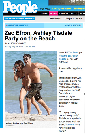 screen capture of People online with photo of Zac Efron and Ashley Tisdale in swimsuits partying on beach