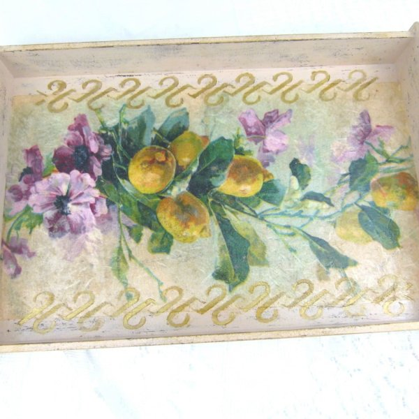 Large-Shabby Chic-Wooden Serving-Tray-With Handles
