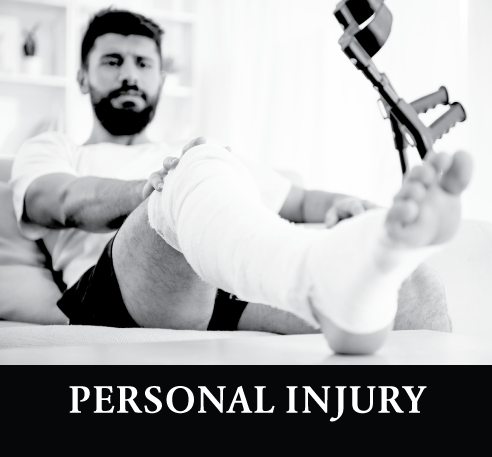 man in leg cast after a personal injury