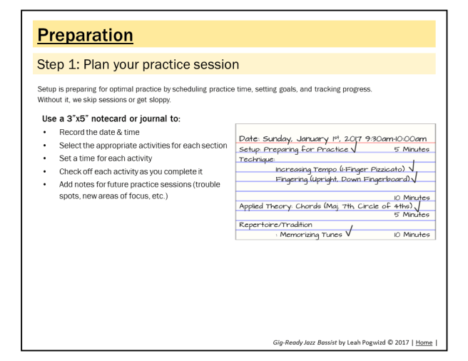Step 1: Plan your practice session