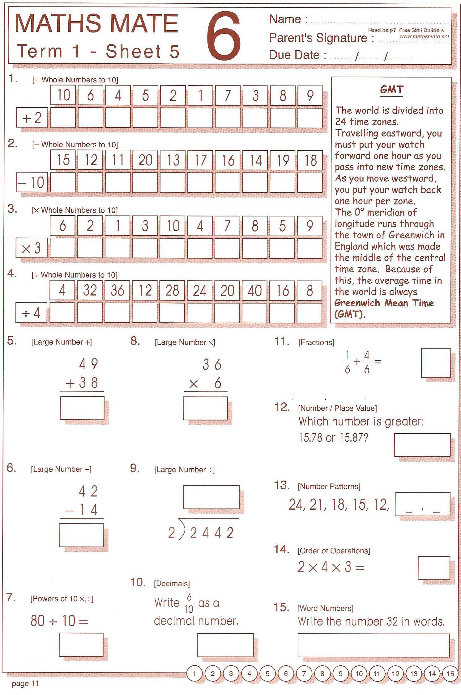 Year 7 Math Mate Worksheet
