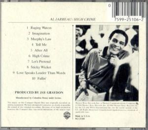 Al Jarreau High Crime CD Back Cover