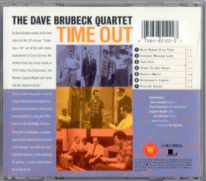 Dave Brubeck Time Out CD Back Cover