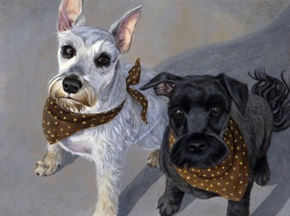 Two Schnauzers. Watercolor