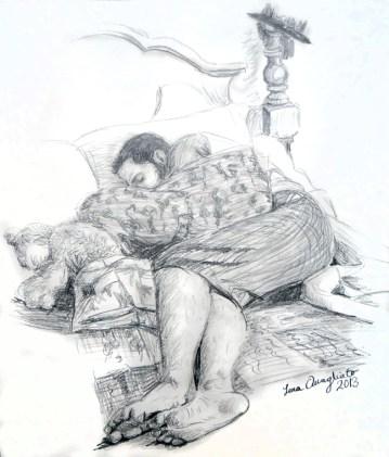 Man sleeping. Live pose