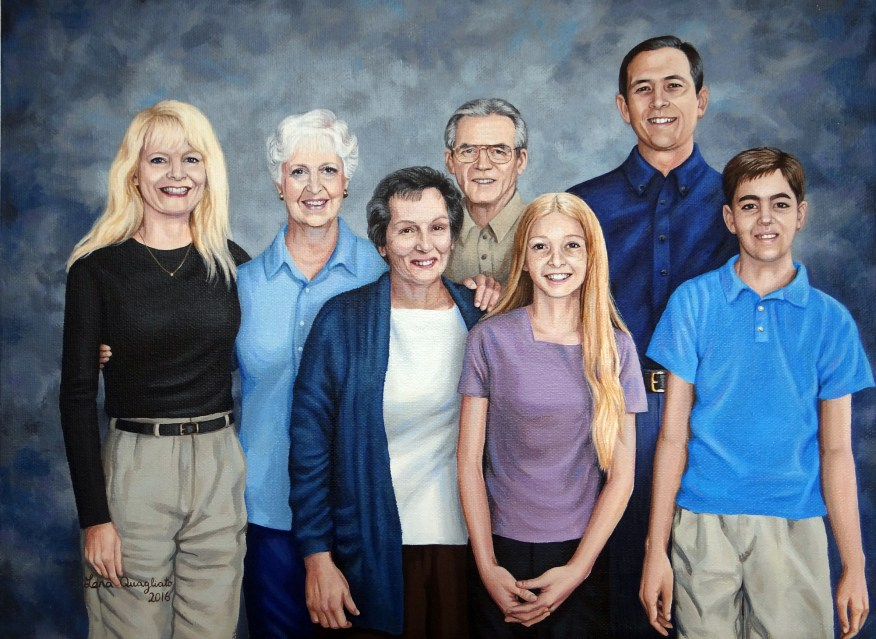"12x16""acrylic multi-family acrylic portrait"