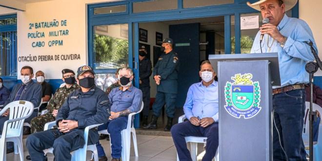 DESTAQUE - Prefeito Angelo Guerreiro enaltece o trabalho da Polícia Militar DIVULGAÇÃO