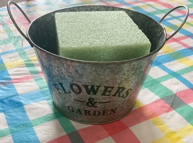 floral foam in galvanized pail