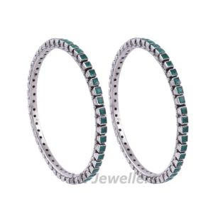 Handcrafted Cut Stone Green Bangles