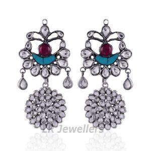 gorgeous kundans Polki Dangler Earrings