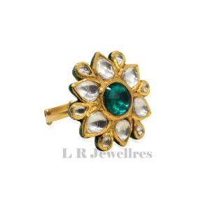 Kundan Work Gold Adjustable Ring