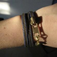 Flot blåt og guld vikle lynlås armbånd