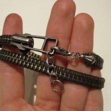 Grønt vikle lynlås armbånd med kæde til justering
