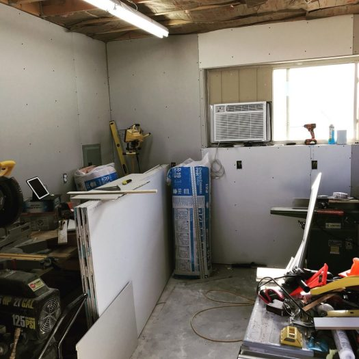 Building A Woodshop From Scratch Drywall Mud Tape Paint And