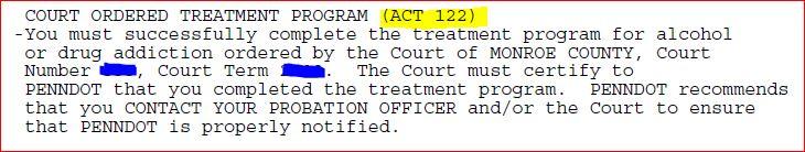 ACT 122 Treatment Programs • License Restoration Services, Inc