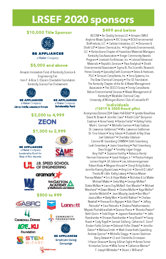 List of LRSEF 2020 Sponsors