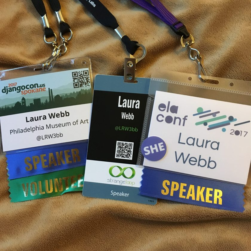 Speaker tags for Laura Webb at DjangoCon, Strangeloop, and ELAConf