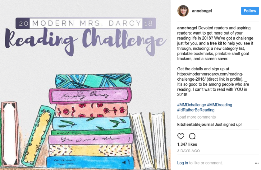 Instagram picture announcing the 2018 Reading Challenge