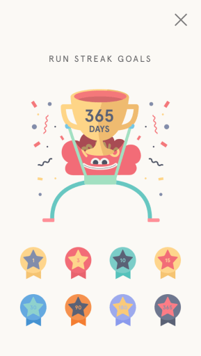 Image from the Headspace app, showing 365 days in a row of meditation