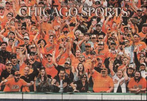 A sea of Oriole orange reacts in unison. Not a person of color to be found. Baseball has become a portion of our nation's pasttime