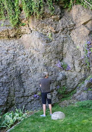 Admiring the dramatic cliff in David & Dale's backyard.