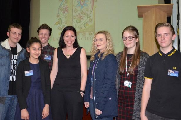 Natalie Haynes, Runshaw students and Liv Sample