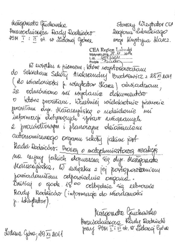 Informacja Małgorzaty Głuchowskiej dla Wizytatora CEA 29 listopada 2011