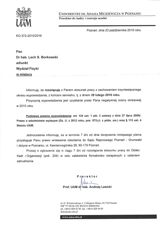 Decyzja władz Uniwersytetu w Poznaniu o wyrzuceniu z pracy dra hab. Lecha Borkowskiego; październik 2015; Decision of the functionaries of the Adam Mickiewicz University in Poznań, Poland, to expel Lech S. Borkowski from the University; October 2015