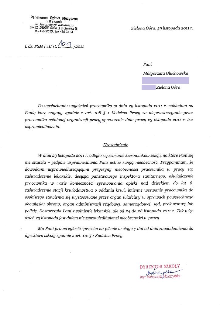 Nagana nałożona na Małgorzatę Głuchowską przez dyrektora Państwowej Szkoły Muzycznej I i II stopnia w Zielonej Górze 29 listopada 2011