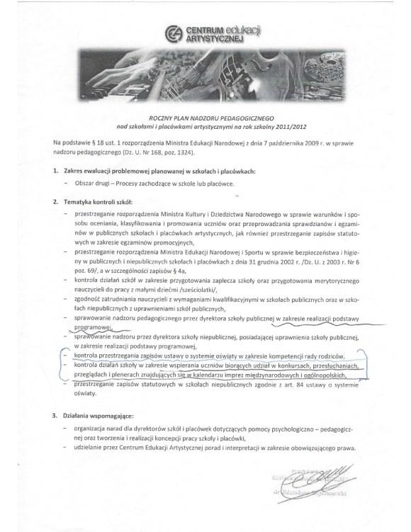Zarzadzenie dyrektora Centrum Edukacji Artystycznej okreslajace roczny plan nadzoru pedagogicznego w szkolach artystycznych na rok szkolny 2011/12