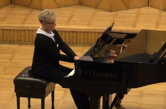 Małgorzata Głuchowska at the piano during one of school concerts. Zielona Góra, June 2015.