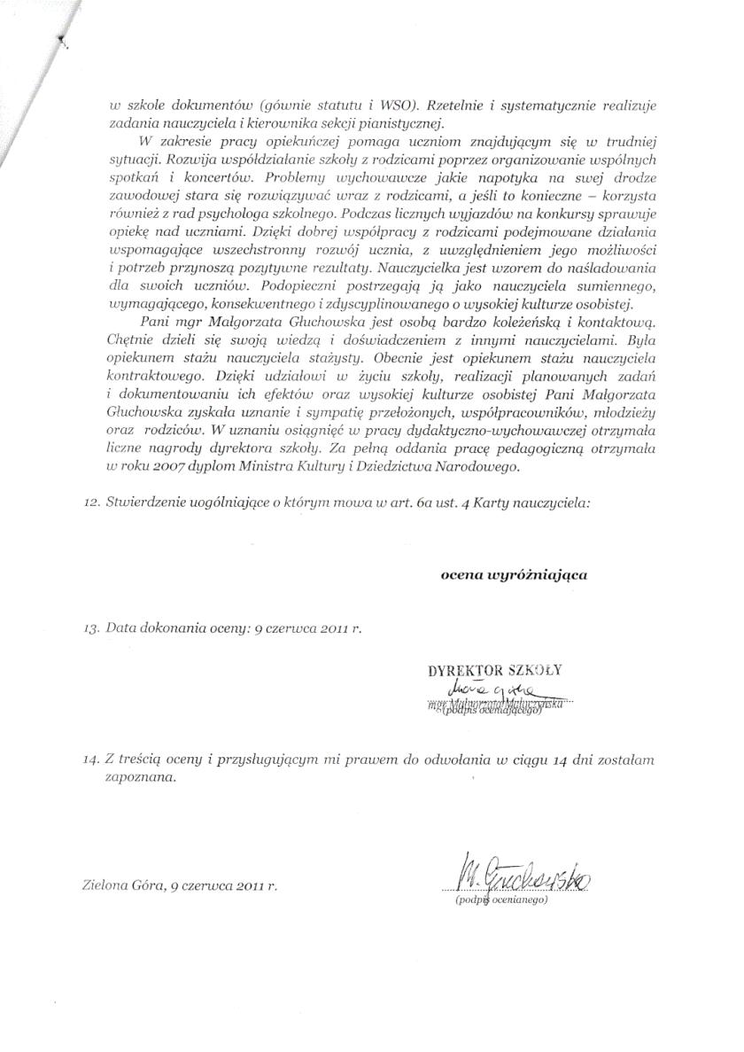 Karta Oceny Pracy, Małgorzata Głuchowska, Państwowa Szkoła Muzyczna I i II stopnia w Zielonej Górze, 9 czerwca 2011, strona 2
