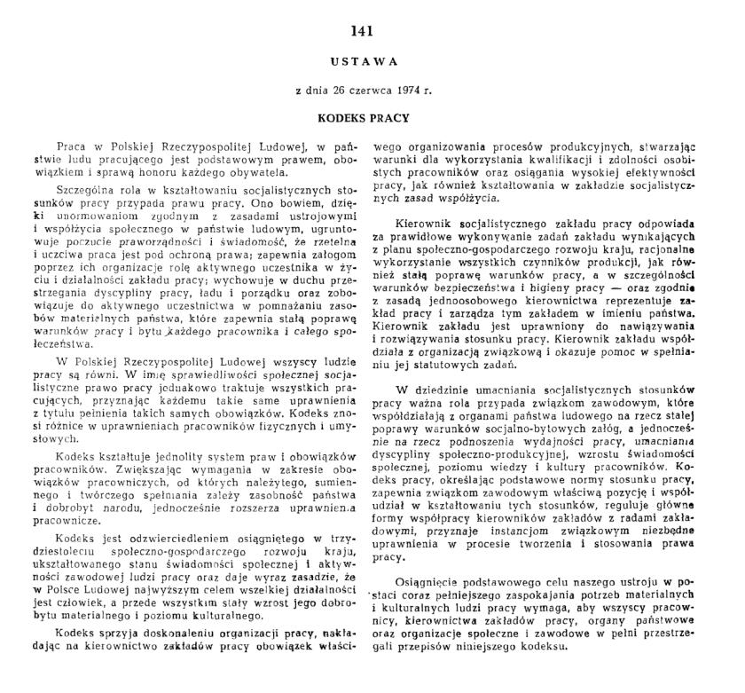 Kodeks Pracy 26 czerwca 1974; pierwsza strona