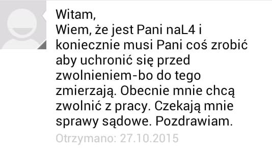 Wiadomość SMS przewodniczącego Związku Zawodowego Solidarność w PSM w Zielonej Górze do Małgorzaty Głuchowskiej, 27 października 2015