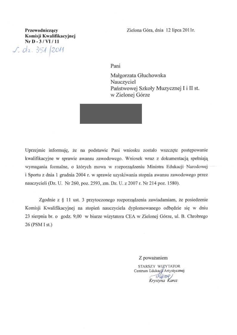 Pismo wizytator Krystyny Karcz do Małgorzaty Głuchowskiej 12 lipca 2011