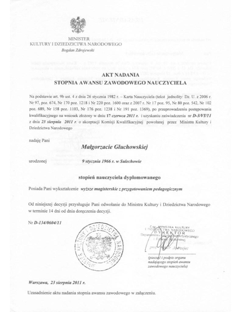 Akt awansu zawodowego wydany przez Ministerstwo Kultury 23 sierpnia 2011