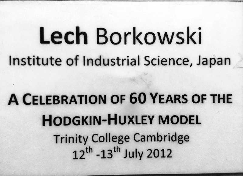 Identyfikator Lecha Borkowskiego przygotowany przez organizatorów konferencji w Trinity College, Cambridge, 2012.