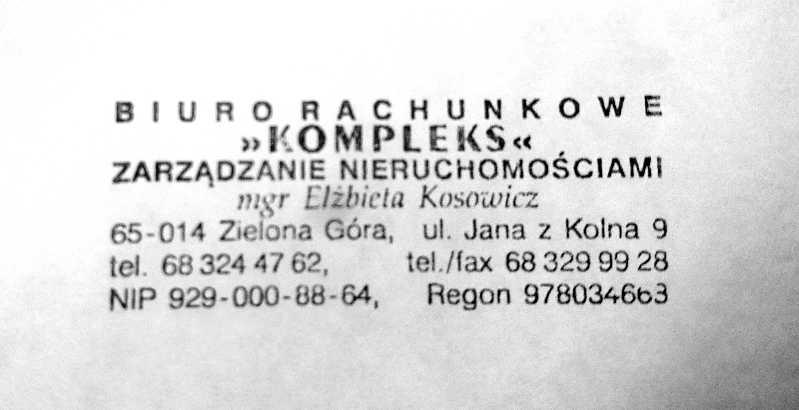 Biuro Rachunkowe Kompleks, ul. Jana z Kolna 9, 65-014 Zielona Góra