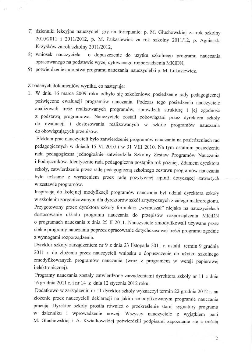 Pismo Ministerstwa Kultury, Dyrektor Departamentu Szkolnictwa Artystycznego Wiktor Jędrzejec 6 czerwca 2012, strona 2