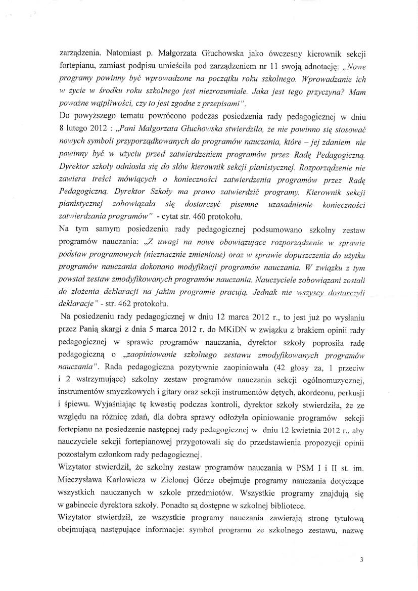 Pismo Ministerstwa Kultury, Dyrektor Departamentu Szkolnictwa Artystycznego Wiktor Jędrzejec 6 czerwca 2012, strona 3