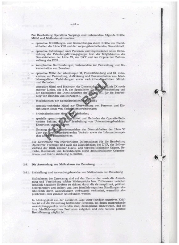 Erich Mielke, Richtlinie Nr. 1/76 zur Entwicklung und Verarbeitung Operativer Vorgange, Die Zersetzung, Ministerium fur Staatsicherheit, DDR, 1976, Seite 46